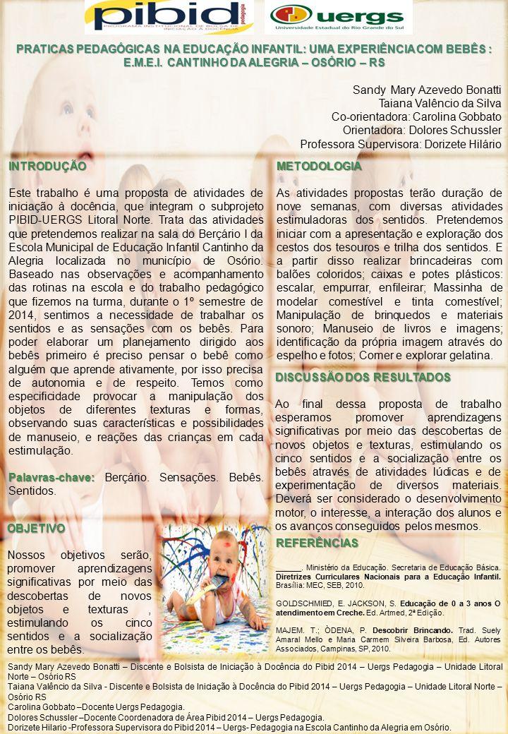 PRATICAS PEDAGÓGICAS NA EDUCAÇÃO INFANTIL: UMA EXPERIÊNCIA COM BEBÊS : E.M.E.I. CANTINHO DA ALEGRIA – OSÓRIO – RS Sandy Mary Azevedo Bonatti Taiana Va