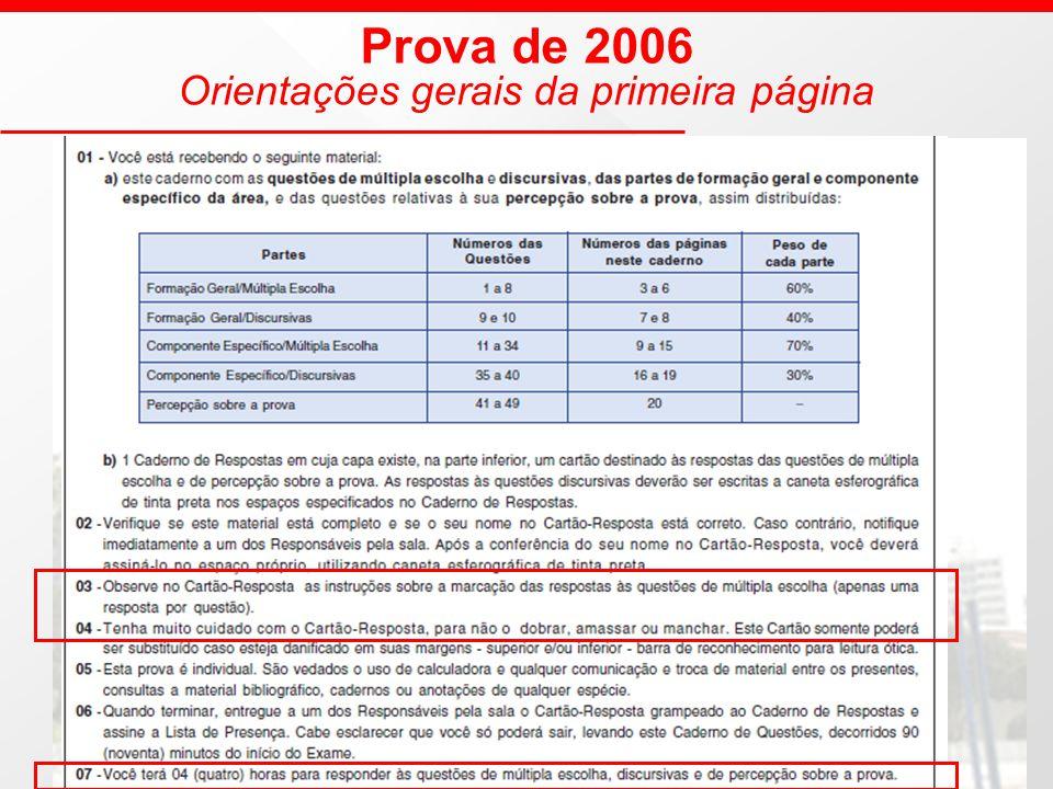 Prova de 2006 Orientações gerais da primeira página