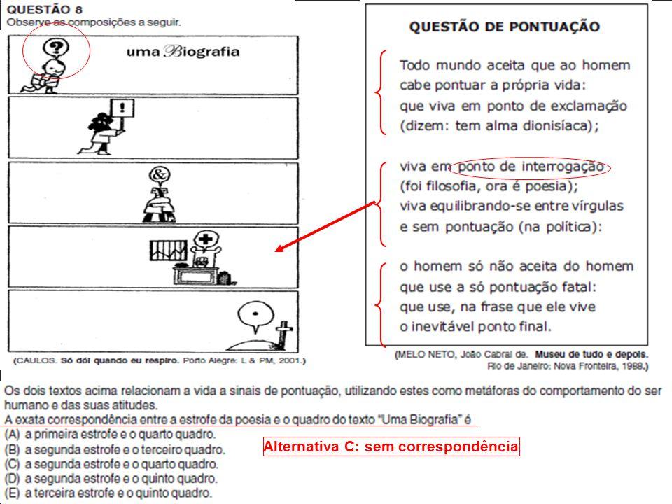 Alternativa C: sem correspondência
