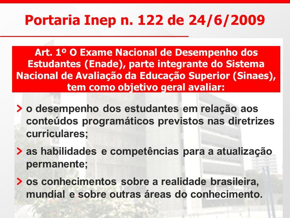 Portaria Inep n. 122 de 24/6/2009 o desempenho dos estudantes em relação aos conteúdos programáticos previstos nas diretrizes curriculares; as habilid