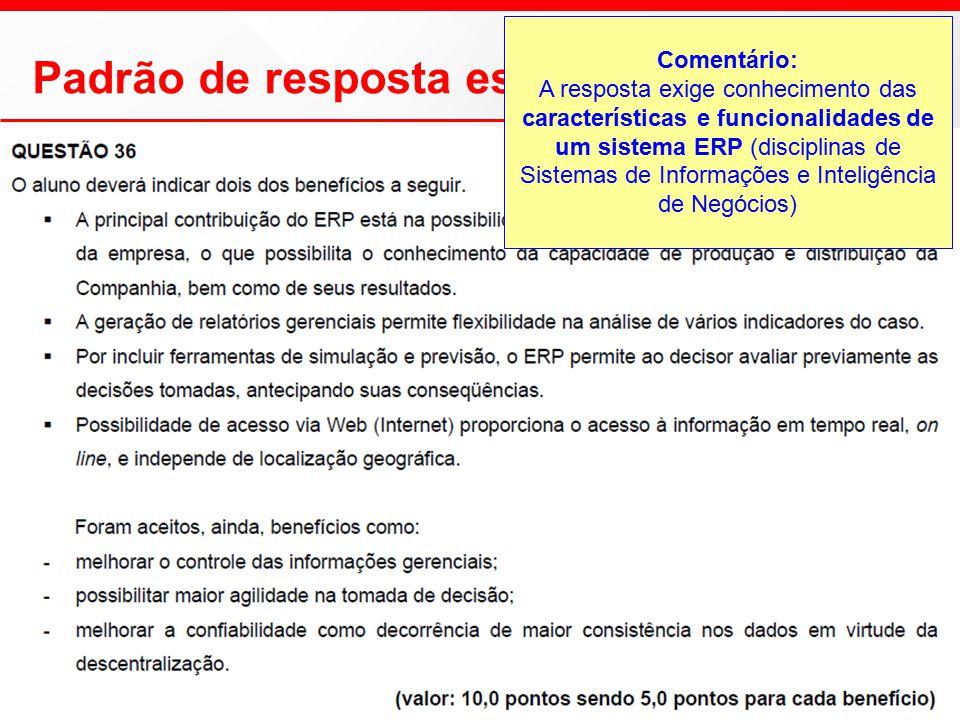 Padrão de resposta esperado Comentário: A resposta exige conhecimento das características e funcionalidades de um sistema ERP (disciplinas de Sistemas de Informações e Inteligência de Negócios)