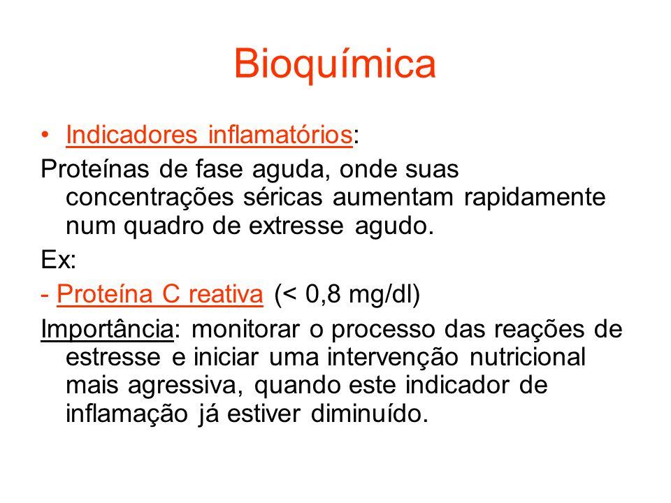 Bioquímica Indicadores inflamatórios: Ex: -Fibronectina (220-400mg/dl).