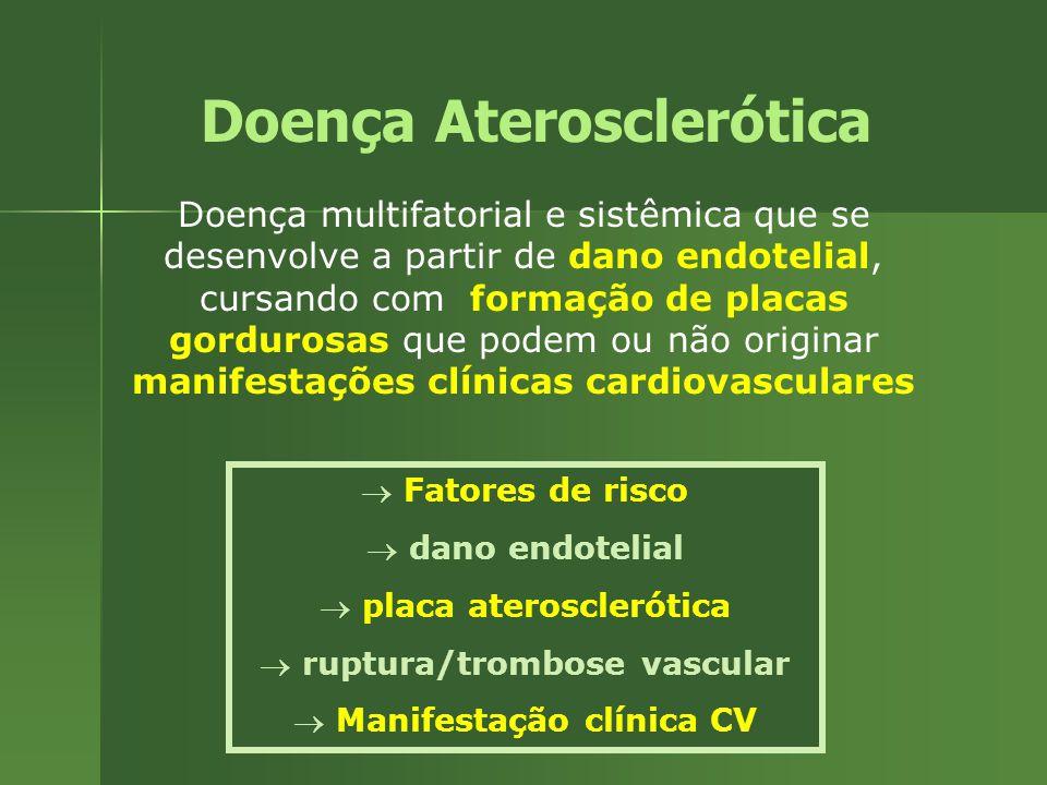Doença Aterosclerótica Doença multifatorial e sistêmica que se desenvolve a partir de dano endotelial, cursando com formação de placas gordurosas que