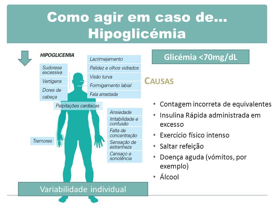 Como agir em caso de… Hipoglicémia C AUSAS Contagem incorreta de equivalentes Insulina Rápida administrada em excesso Exercício físico intenso Saltar refeição Doença aguda (vómitos, por exemplo) Álcool Variabilidade individual Glicémia <70mg/dL