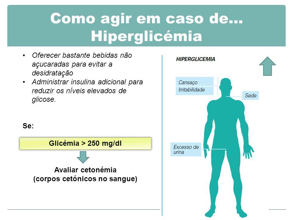 Como agir em caso de… Hiperglicémia Oferecer bastante bebidas não açucaradas para evitar a desidratação Administrar insulina adicional para reduzir os níveis elevados de glicose.