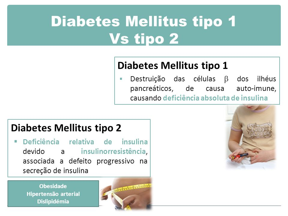 Diabetes Mellitus tipo 1 Vs tipo 2 Diabetes Mellitus tipo 1  Destruição das células  dos ilhéus pancreáticos, de causa auto-imune, causando deficiência absoluta de insulina Diabetes Mellitus tipo 2  Deficiência relativa de insulina devido a insulinorresistência, associada a defeito progressivo na secreção de insulina Obesidade Hipertensão arterial Dislipidémia