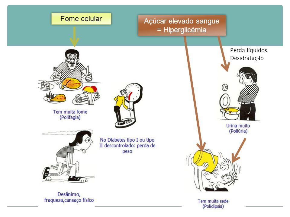 Perda líquidos Desidratação Fome celular Açúcar elevado sangue = Hiperglicémia Açúcar elevado sangue = Hiperglicémia