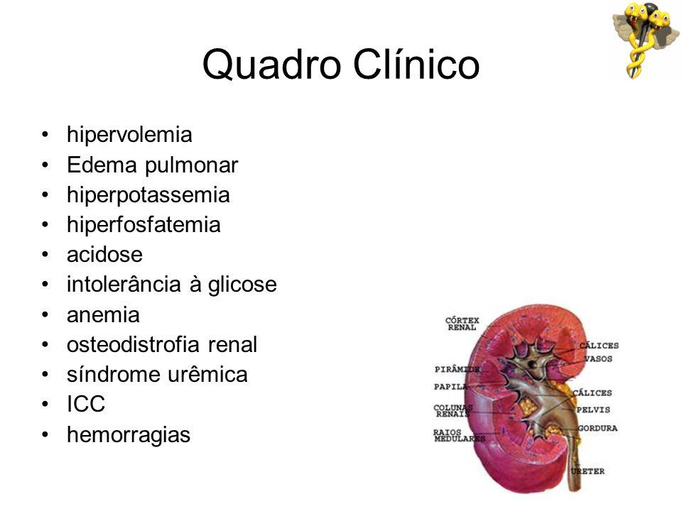 Quadro Clínico hipervolemia Edema pulmonar hiperpotassemia hiperfosfatemia acidose intolerância à glicose anemia osteodistrofia renal síndrome urêmica