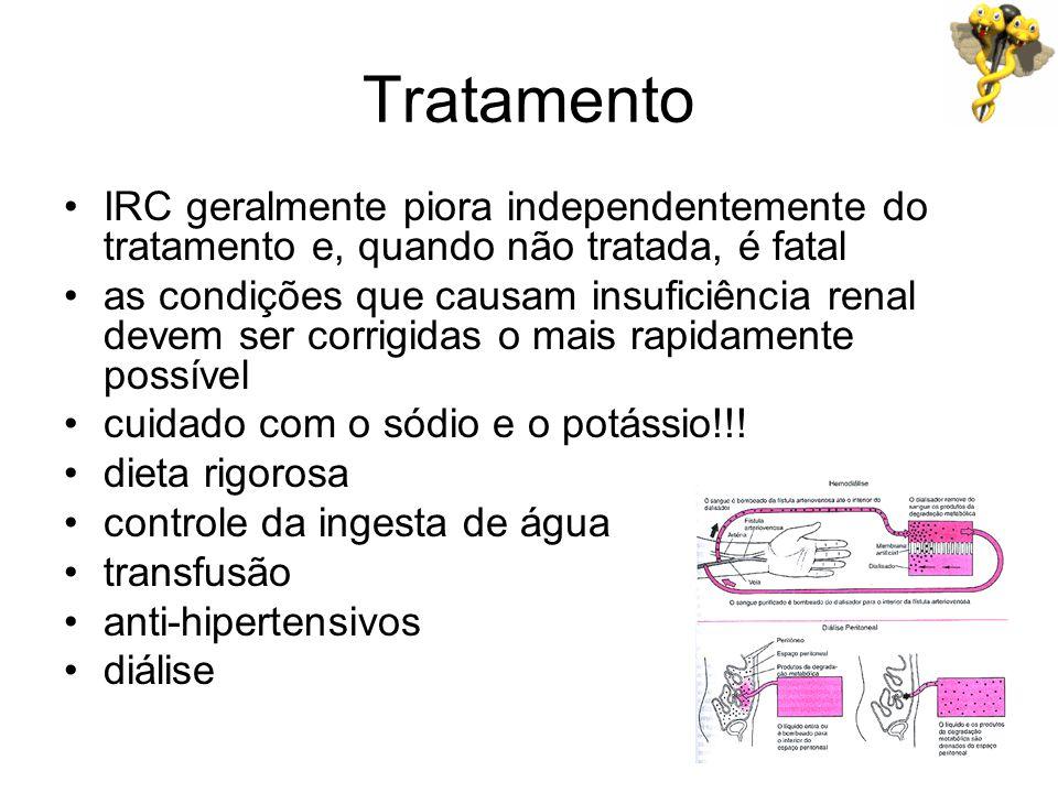 Tratamento IRC geralmente piora independentemente do tratamento e, quando não tratada, é fatal as condições que causam insuficiência renal devem ser c