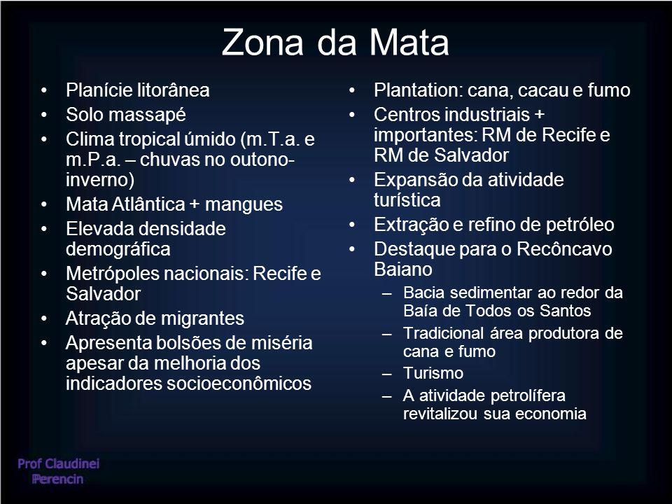 Zona da Mata Planície litorânea Solo massapé Clima tropical úmido (m.T.a.