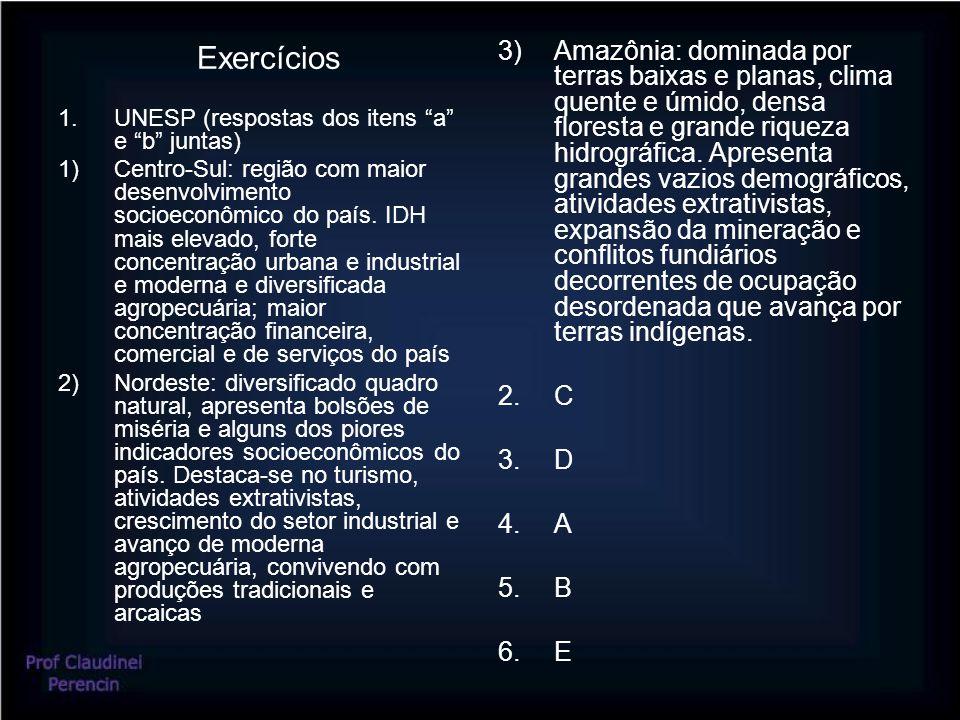 Exercícios 1.UNESP (respostas dos itens a e b juntas) 1)Centro-Sul: região com maior desenvolvimento socioeconômico do país.
