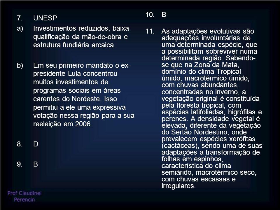 7.UNESP a)Investimentos reduzidos, baixa qualificação da mão-de-obra e estrutura fundiária arcaica.