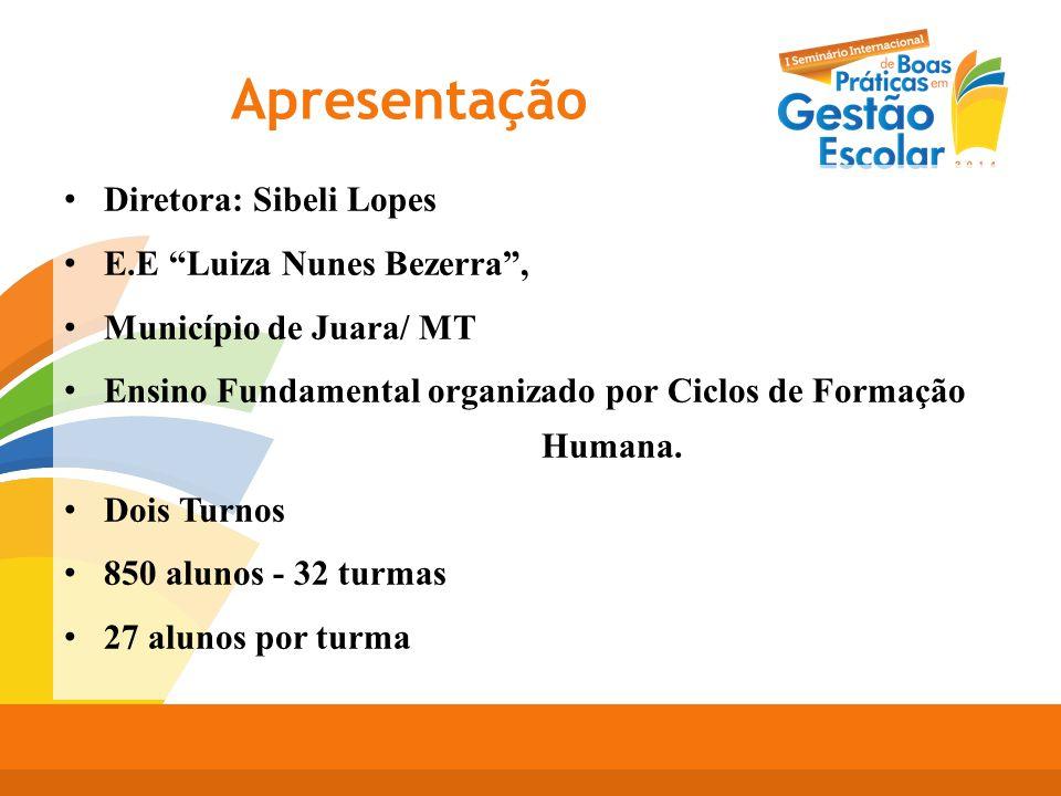 """Apresentação Diretora: Sibeli Lopes E.E """"Luiza Nunes Bezerra"""", Município de Juara/ MT Ensino Fundamental organizado por Ciclos de Formação Humana. Doi"""