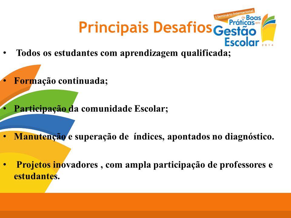 Principais Desafios Todos os estudantes com aprendizagem qualificada; Formação continuada; Participação da comunidade Escolar; Manutenção e superação