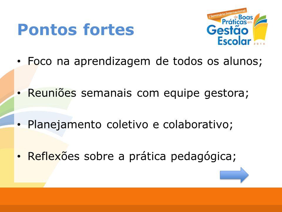 Embasamento teórico nas devolutivas e ações de formação; Construção do P.P.P; Cultura avaliativa; Comprometimento e trabalho em equipe.