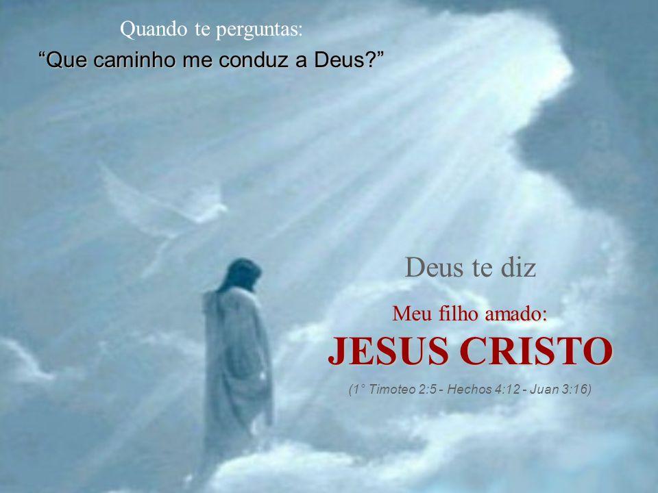 """Quando te perguntas: """"Que caminho me conduz a Deus?"""" Deus te diz Meu filho amado: JESUS CRISTO (1° Timoteo 2:5 - Hechos 4:12 - Juan 3:16)"""