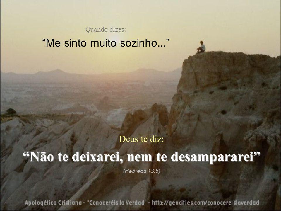 """Quando dizes: """"Me sinto muito sozinho..."""" Deus te diz: """"Não te deixarei, nem te desampararei"""" (Hebreos 13:5)"""
