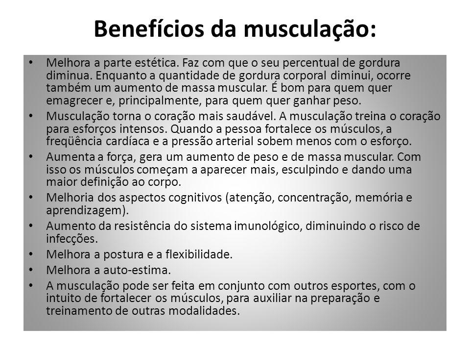 Riscos/cuidados da musculação: O exercício deve ser feito com acompanhamento de um profissional de Educação Física.