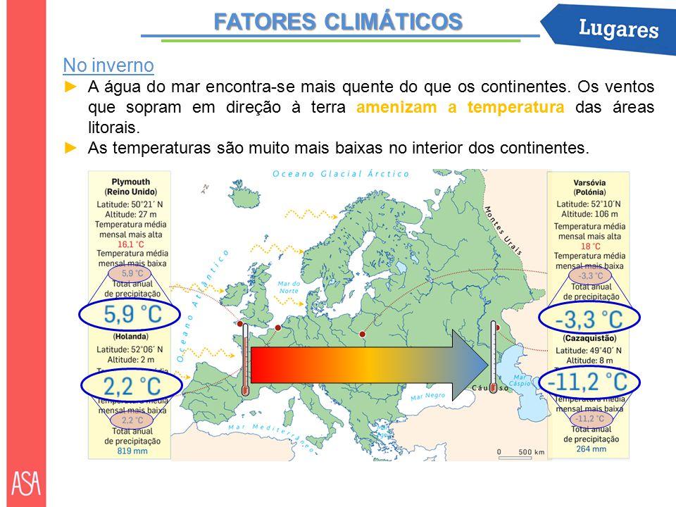 FATORES CLIMÁTICOS No inverno ►A água do mar encontra-se mais quente do que os continentes.