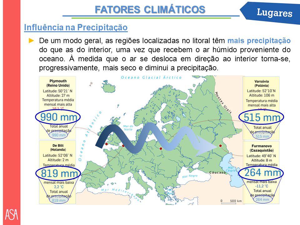 FATORES CLIMÁTICOS ►De um modo geral, as regiões localizadas no litoral têm mais precipitação do que as do interior, uma vez que recebem o ar húmido proveniente do oceano.