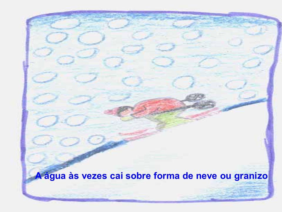 A água às vezes cai sobre forma de neve ou granizo