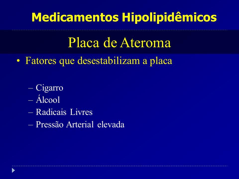 Medicamentos Hipolipidêmicos Placa de Ateroma Fatores que desestabilizam a placa –Cigarro –Álcool –Radicais Livres –Pressão Arterial elevada