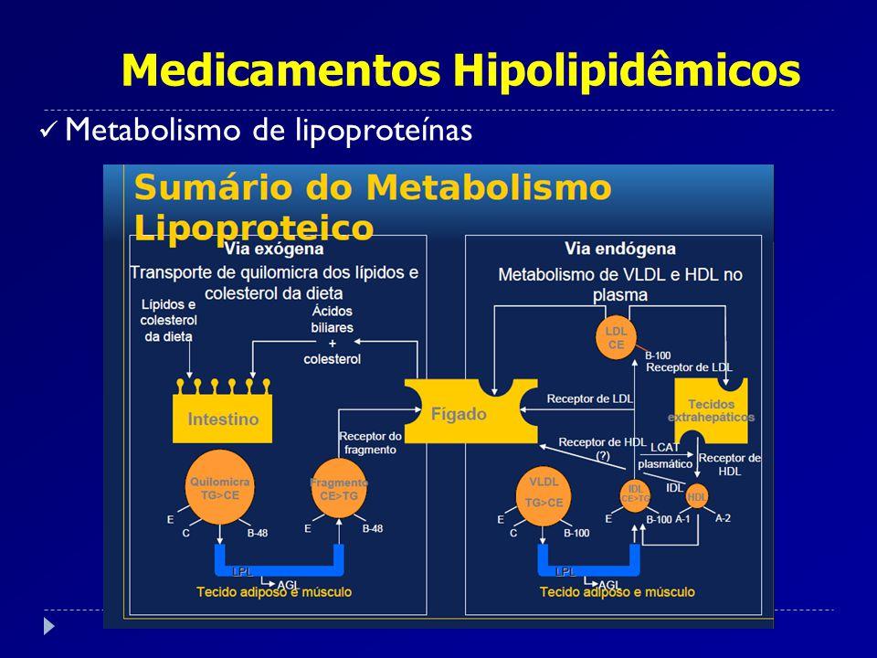 Medicamentos Hipolipidêmicos As hiperlipoproteinemias podem ser primárias (genética) ou secundárias (diabetes, alcoolismo, insuficiência renal crônica, hepatopatia e medicamentos – isotretinoína, diuréticos tiazídicos, antagonistas beta); As hiperlipoproteinemias fortemente associadas à ateroesclerose são: Tipo IIa (LDL aumentada) e Tipo IIb (LDL+ VLDL).