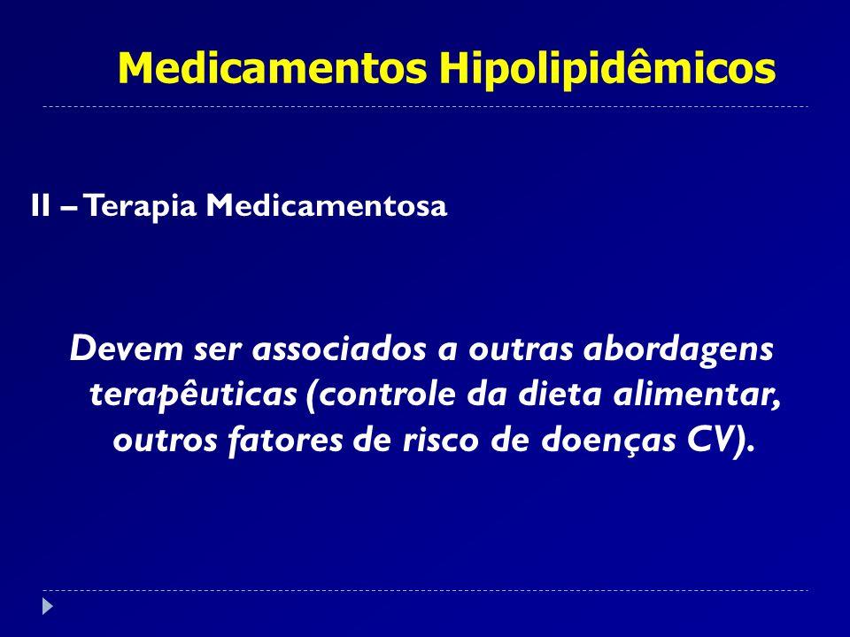 II – Terapia Medicamentosa Devem ser associados a outras abordagens terapêuticas (controle da dieta alimentar, outros fatores de risco de doenças CV).