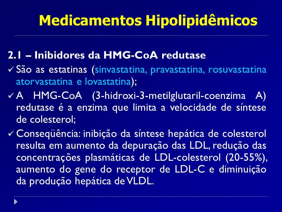 Medicamentos Hipolipidêmicos 2.1 – Inibidores da HMG-CoA redutase São as estatinas (sinvastatina, pravastatina, rosuvastatina atorvastatina e lovastat