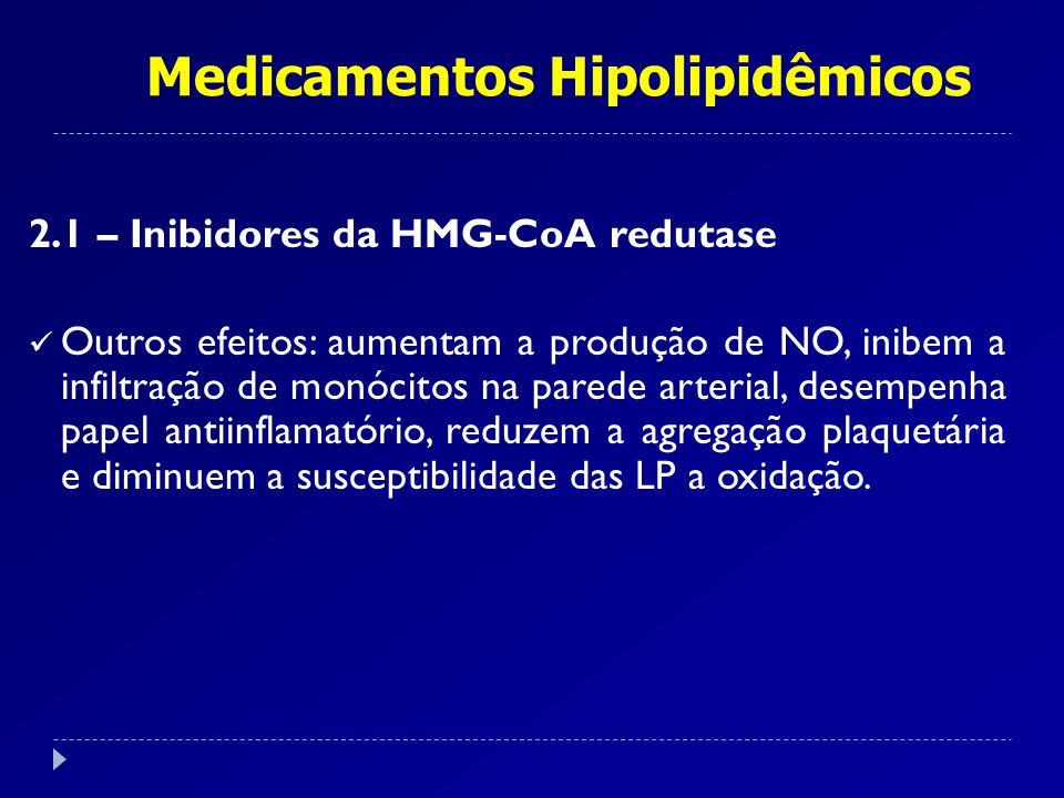 Medicamentos Hipolipidêmicos 2.1 – Inibidores da HMG-CoA redutase Efeitos adversos: Bem tolerados.