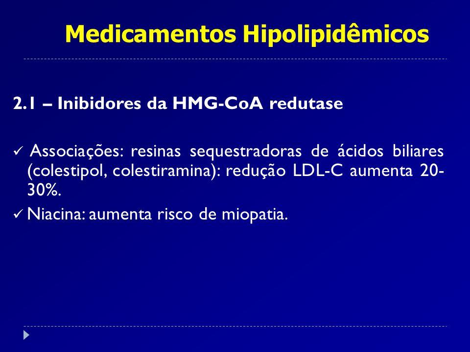 Medicamentos Hipolipidêmicos 2.1 – Inibidores da HMG-CoA redutase Associações: resinas sequestradoras de ácidos biliares (colestipol, colestiramina):