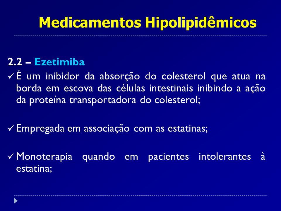 Medicamentos Hipolipidêmicos 2.2 – Ezetimiba É um inibidor da absorção do colesterol que atua na borda em escova das células intestinais inibindo a aç