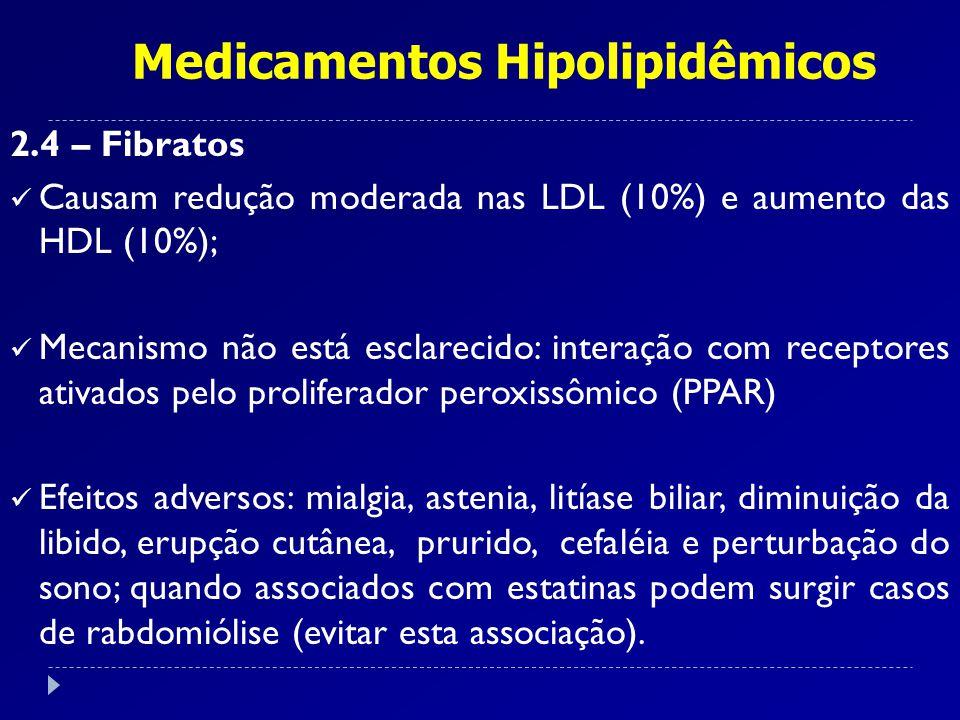 Medicamentos Hipolipidêmicos 2.4 – Fibratos Causam redução moderada nas LDL (10%) e aumento das HDL (10%); Mecanismo não está esclarecido: interação c