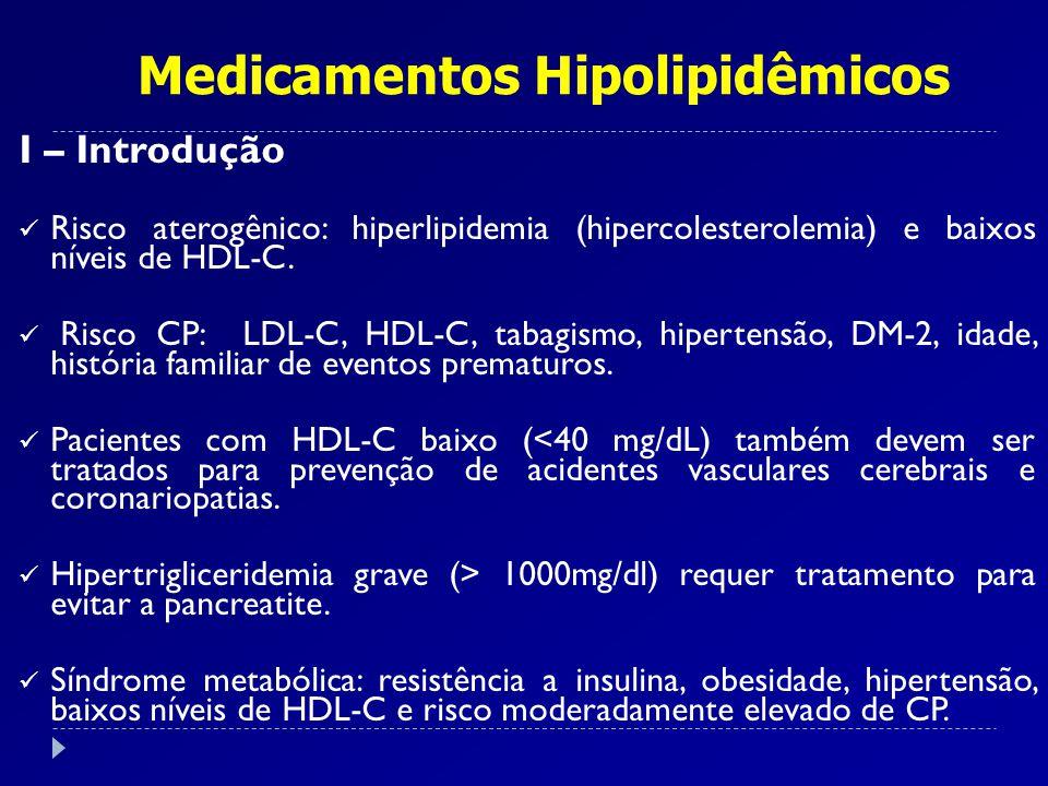 I – Introdução Risco aterogênico: hiperlipidemia (hipercolesterolemia) e baixos níveis de HDL-C. Risco CP: LDL-C, HDL-C, tabagismo, hipertensão, DM-2,