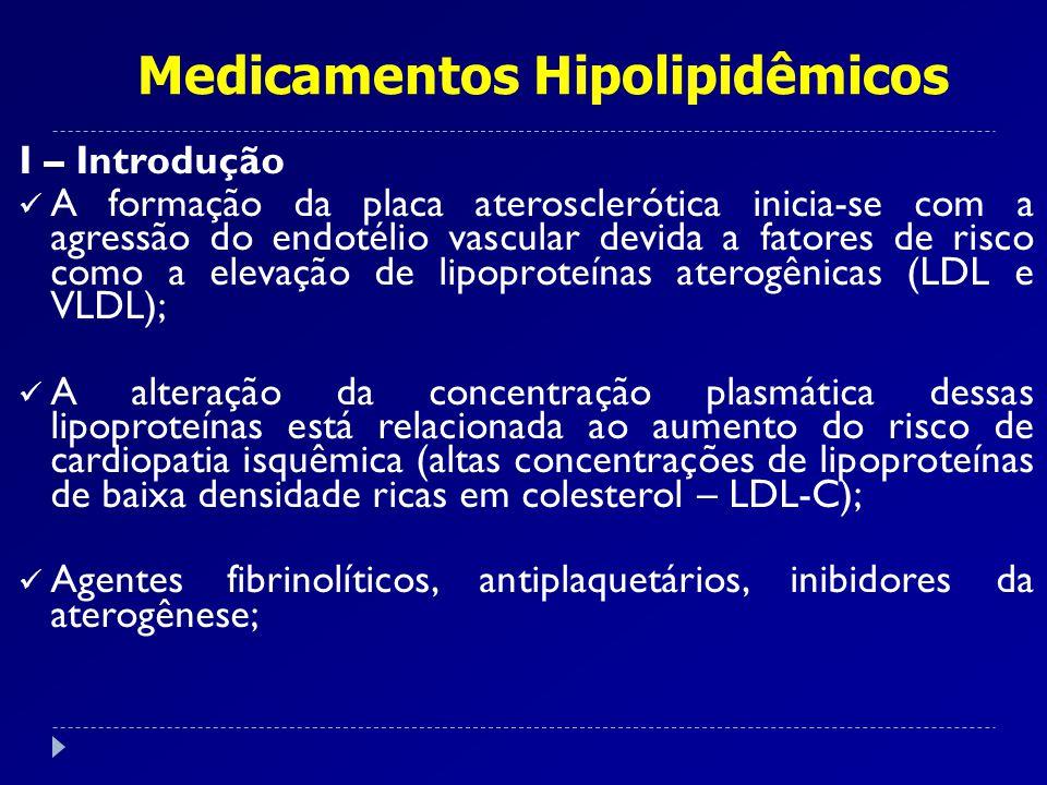 I – Introdução A formação da placa aterosclerótica inicia-se com a agressão do endotélio vascular devida a fatores de risco como a elevação de lipopro