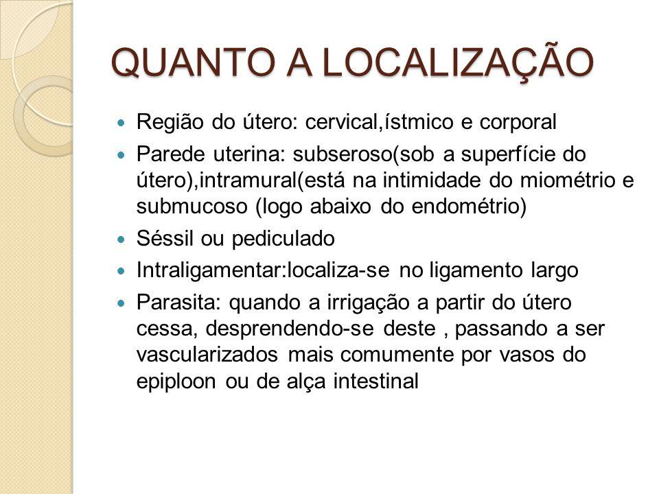 QUANTO A LOCALIZAÇÃO Região do útero: cervical,ístmico e corporal Parede uterina: subseroso(sob a superfície do útero),intramural(está na intimidade do miométrio e submucoso (logo abaixo do endométrio) Séssil ou pediculado Intraligamentar:localiza-se no ligamento largo Parasita: quando a irrigação a partir do útero cessa, desprendendo-se deste, passando a ser vascularizados mais comumente por vasos do epiploon ou de alça intestinal