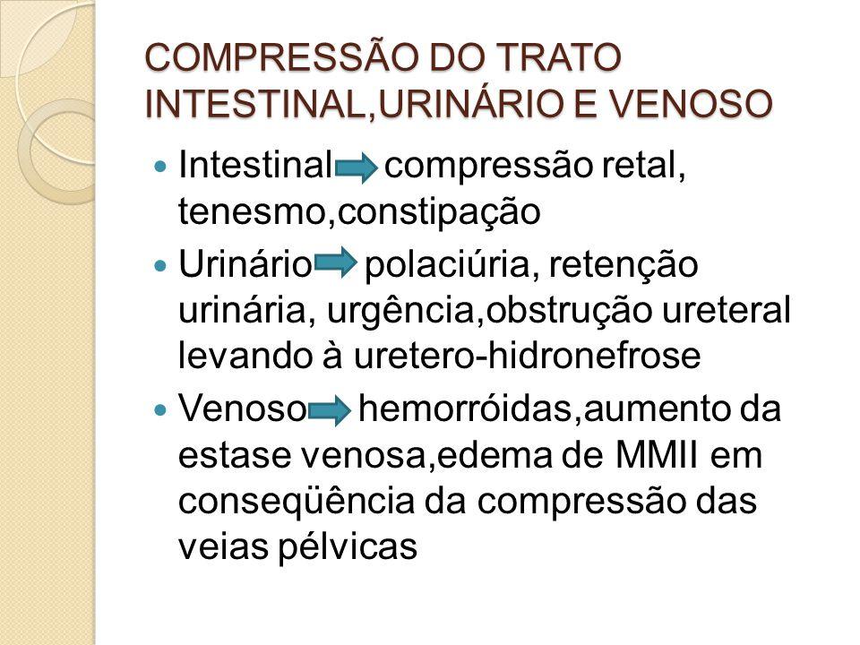 COMPRESSÃO DO TRATO INTESTINAL,URINÁRIO E VENOSO Intestinal compressão retal, tenesmo,constipação Urinário polaciúria, retenção urinária, urgência,obstrução ureteral levando à uretero-hidronefrose Venoso hemorróidas,aumento da estase venosa,edema de MMII em conseqüência da compressão das veias pélvicas