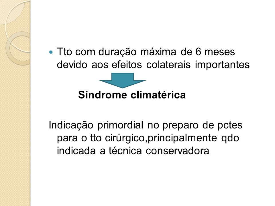 Tto com duração máxima de 6 meses devido aos efeitos colaterais importantes Síndrome climatérica Indicação primordial no preparo de pctes para o tto c