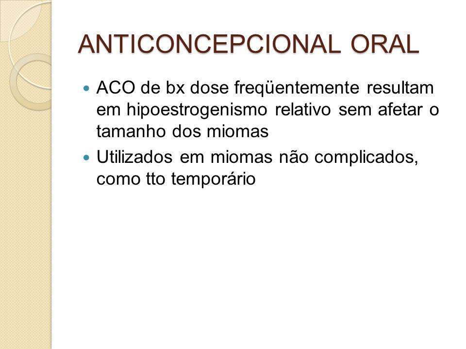 ANTICONCEPCIONAL ORAL ACO de bx dose freqüentemente resultam em hipoestrogenismo relativo sem afetar o tamanho dos miomas Utilizados em miomas não com