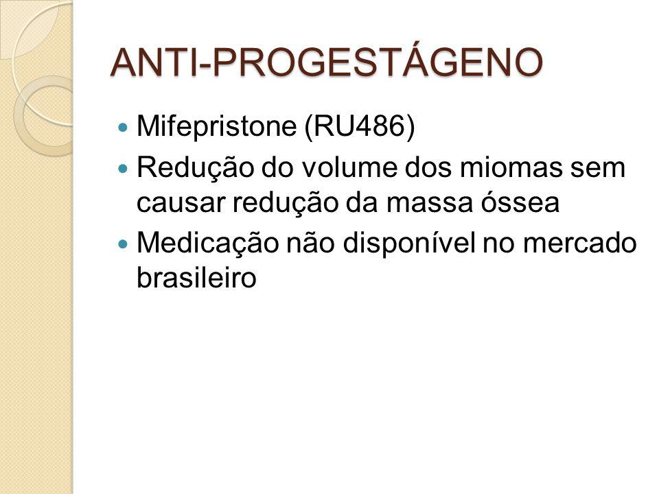 ANTI-PROGESTÁGENO Mifepristone (RU486) Redução do volume dos miomas sem causar redução da massa óssea Medicação não disponível no mercado brasileiro