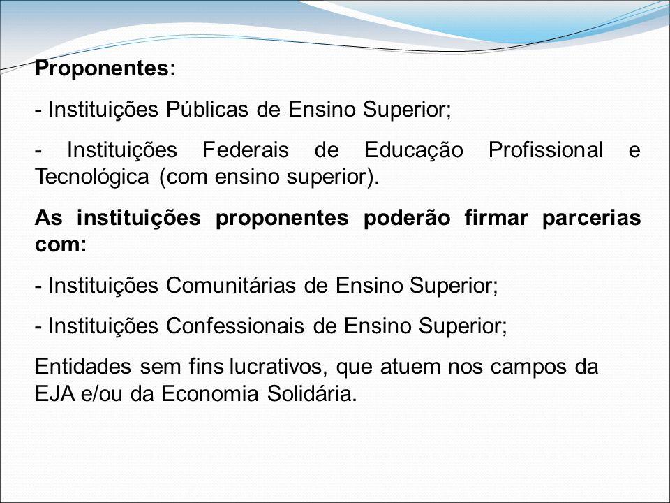 Proponentes: - Instituições Públicas de Ensino Superior; - Instituições Federais de Educação Profissional e Tecnológica (com ensino superior).
