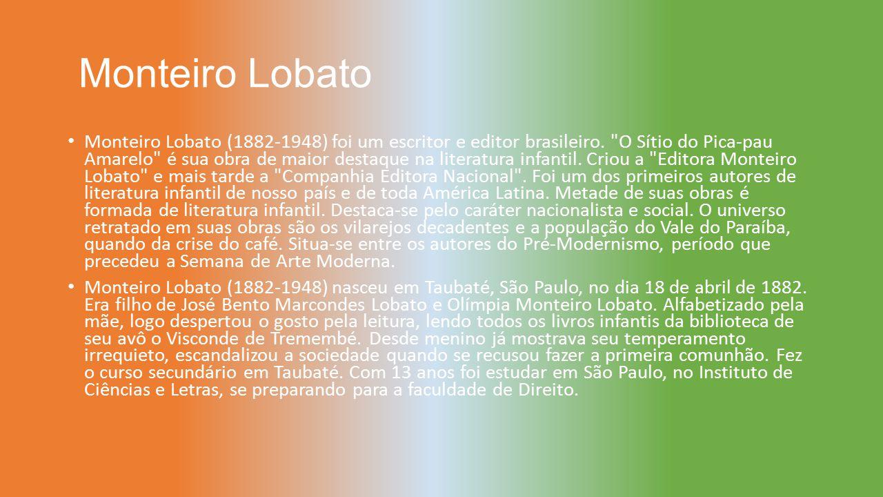 Monteiro Lobato Monteiro Lobato (1882-1948) foi um escritor e editor brasileiro.