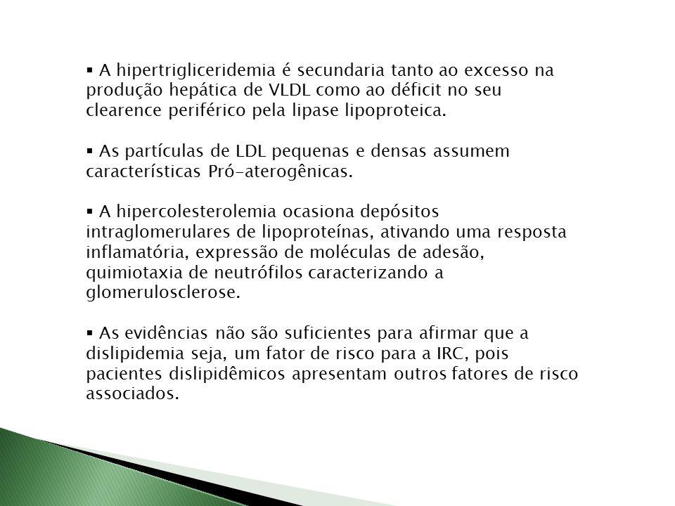  A hipertrigliceridemia é secundaria tanto ao excesso na produção hepática de VLDL como ao déficit no seu clearence periférico pela lipase lipoprotei