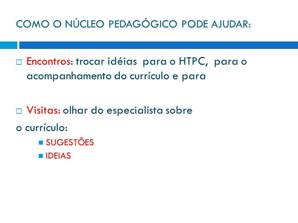 COMO O NÚCLEO PEDAGÓGICO PODE AJUDAR:  Encontros: trocar idéias para o HTPC, para o acompanhamento do currículo e para  Visitas: olhar do especialista sobre o currículo: SUGESTÕES IDEIAS