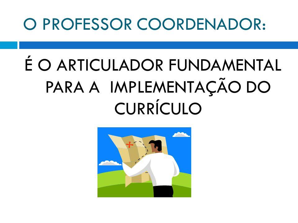 O PROFESSOR COORDENADOR: É O ARTICULADOR FUNDAMENTAL PARA A IMPLEMENTAÇÃO DO CURRÍCULO