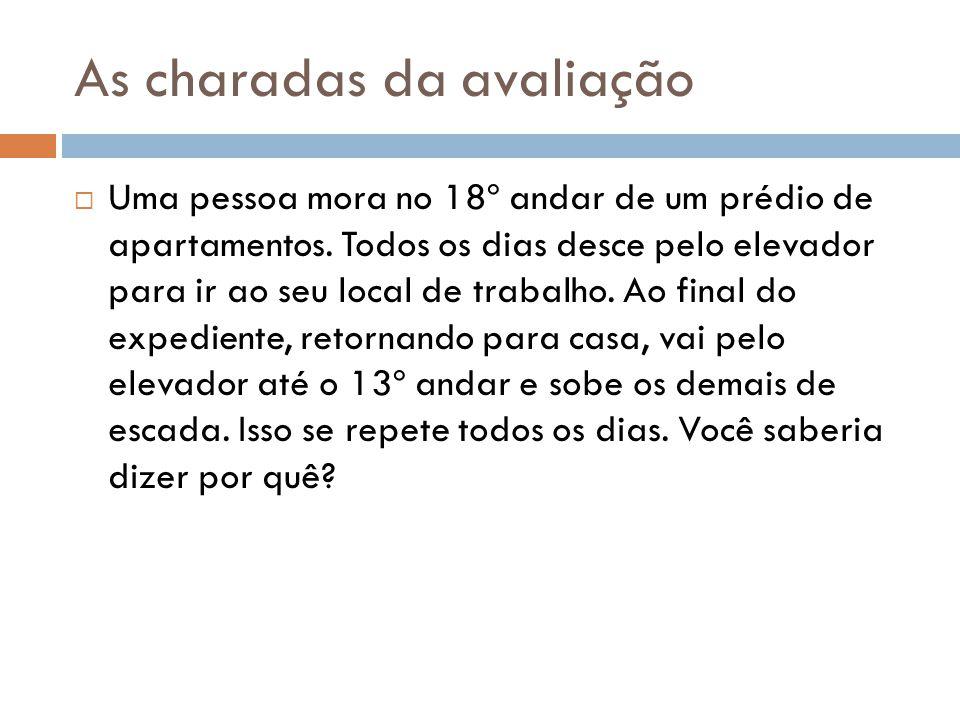 As charadas da avaliação  Uma pessoa mora no 18º andar de um prédio de apartamentos.