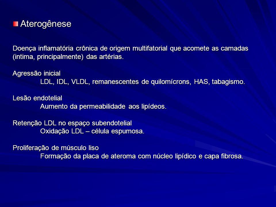Doença inflamatória crônica de origem multifatorial que acomete as camadas (intima, principalmente) das artérias. Agressão inicial LDL, IDL, VLDL, rem