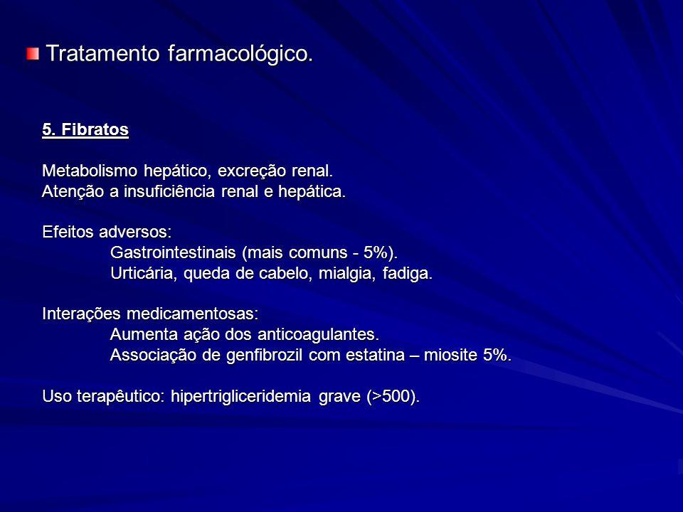 5. Fibratos Metabolismo hepático, excreção renal. Atenção a insuficiência renal e hepática. Efeitos adversos: Gastrointestinais (mais comuns - 5%). Ur