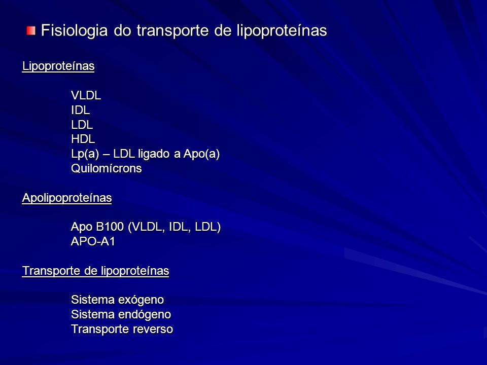 LipoproteínasVLDLIDLLDLHDL Lp(a) – LDL ligado a Apo(a) QuilomícronsApolipoproteínas Apo B100 (VLDL, IDL, LDL) APO-A1 Transporte de lipoproteínas Siste