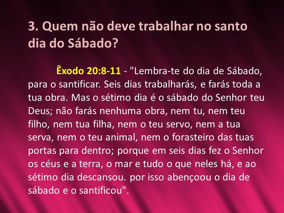 3. Quem não deve trabalhar no santo dia do Sábado? Êxodo 20:8-11 -